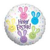 "18"" Happy Easter Multi-Color Bunnies Balloon"