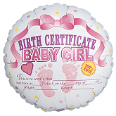 "18"" Birth Certificate Baby Girl"
