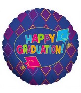 "18"" Happy Graduation Purple Diamonds Blue Foil Balloon"
