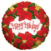 "18"" Poinsetta Happy Holiday Balloon"