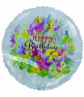 "18"" Happy Birthday FLowers Balloons"