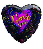 "18"" I Love You Pink Heart Streamers Black Foil Balloon"