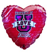 "18"" Property of U Love Red Heart Shaped Balloon"