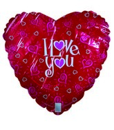 "18"" I Love You Hearts Red Heart Shaped Balloon"