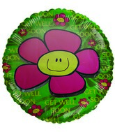 "18"" Get Well Soon Pink Flower Green Foil Balloon"