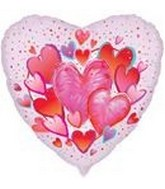 18&#39&#39  Hearts Burst Mylar Balloon