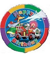 "18"" Fire Engine Happy Birthday Buddies"
