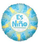 "18"" Es Nino Footprints Blue Balloon"