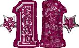 "28"" #1 Grade Shape Burgundy Mylar Balloon"