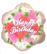 "18"" Happy Birthday Roses Flower Shaped Mylar Balloon"