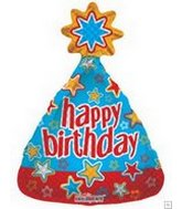 "13"" Airfill Only HBD Party Hat Stars"