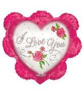 "26"" I Love You Ruffled Pink Heart B276"
