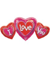 "26"" Jumbo I Love You Triple Hearts Shaped Mylar Balloon"