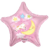 "18"" Baby Girl Cow And Moon Star Balloon"