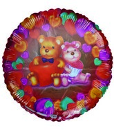 "18"" Bear Couple Love Colorful Hearts Balloon"