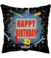 "18"" Happy Birthday Tools Square"