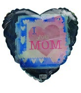 "18"" I Love You Mom Blue & Pink Heart Shape Balloon"