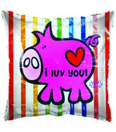 "18"" I luv You! Pink Pig Striped Background Foil Balloon"