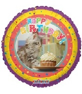 "9"" Airfill Happy Birthday Cat Balloon"