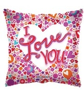 "4"" Airfill Square Mosaic I Love You Balloon"