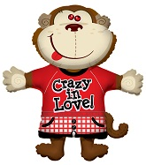 "36"" Monkey Crazy in Love Jumbo Balloon"