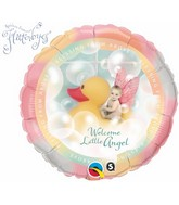"18"" &#39Welcome Little Angel&#39 Yellow Ducky Mylar Balloon"