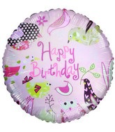 "18"" Happy Birthday Birds with designs pink balloon"