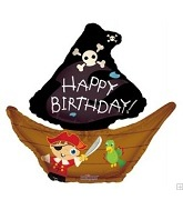 "28"" Happy Birthday Pirate Boat Balloon"