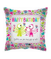 "18"" Happy Birthday Aliens Clear Balloon"