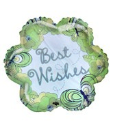 "18"" Best Wishes Green Floral Design Foil Balloon"