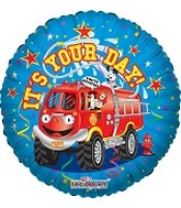 "18"" It&#39s Your Day Firetruck Balloon"
