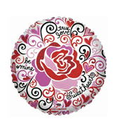 "18"" Love Notes Trendy Rose Clear Balloon"