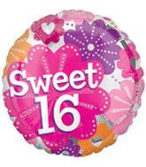 "18"" Sweet 16 Flowers Foil Balloon"
