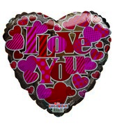 "18"" I Love You Pink Hearts Silver Heart Mylar Balloon"