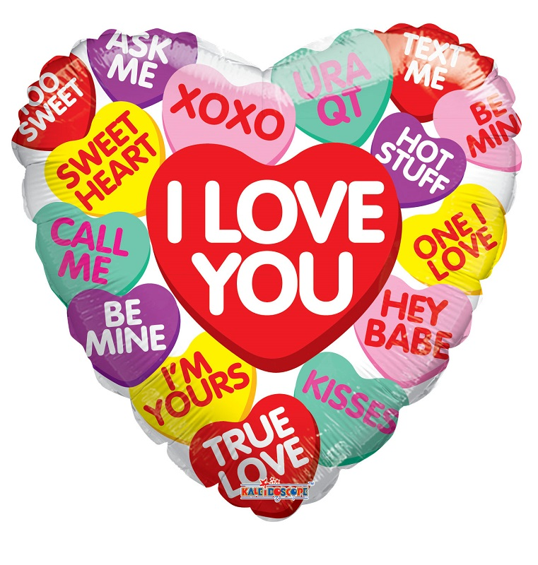 "18"" Candy Hearts Messages Balloon"