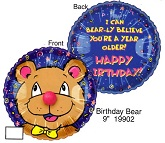 "9"" Airfill Only Lil' Fuzzies Birthday Bear balloon"