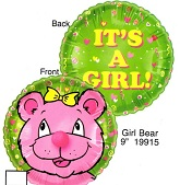 "9"" Airfill Only Lil' Fuzzies Girl Bear Balloon"