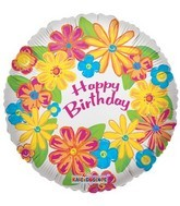 "18"" Foil Balloon Happy Birthday Flower"