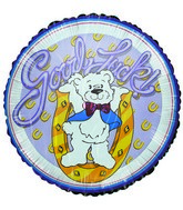 "9"" Good Luck Horseshoe Bear Airfill-Only Mylar Balloon"