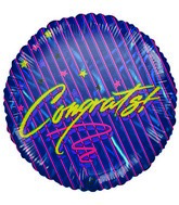 "9"" Congrats! Striped Blue Airfill-Only Mylar Balloon"