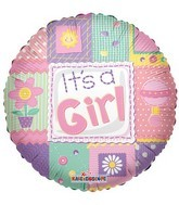 "18"" Foil Balloon It&#39s a Girl Quilt"