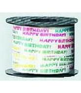 "3/16"" Poly Curling Ribbed Ribbon Happy Birthday"