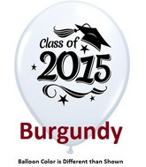 "11"" Class of 2015 Grad Stars Sparkling Burgundy (50 ct.)"