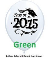 "11"" Class of 2015 Grad Stars Green (50 ct.)"