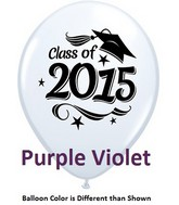 "11"" Class of 2015 Grad Stars Purple Violet (50 ct.)"