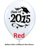 "11"" Class of 2015 Grad Stars Red (50 ct.)"