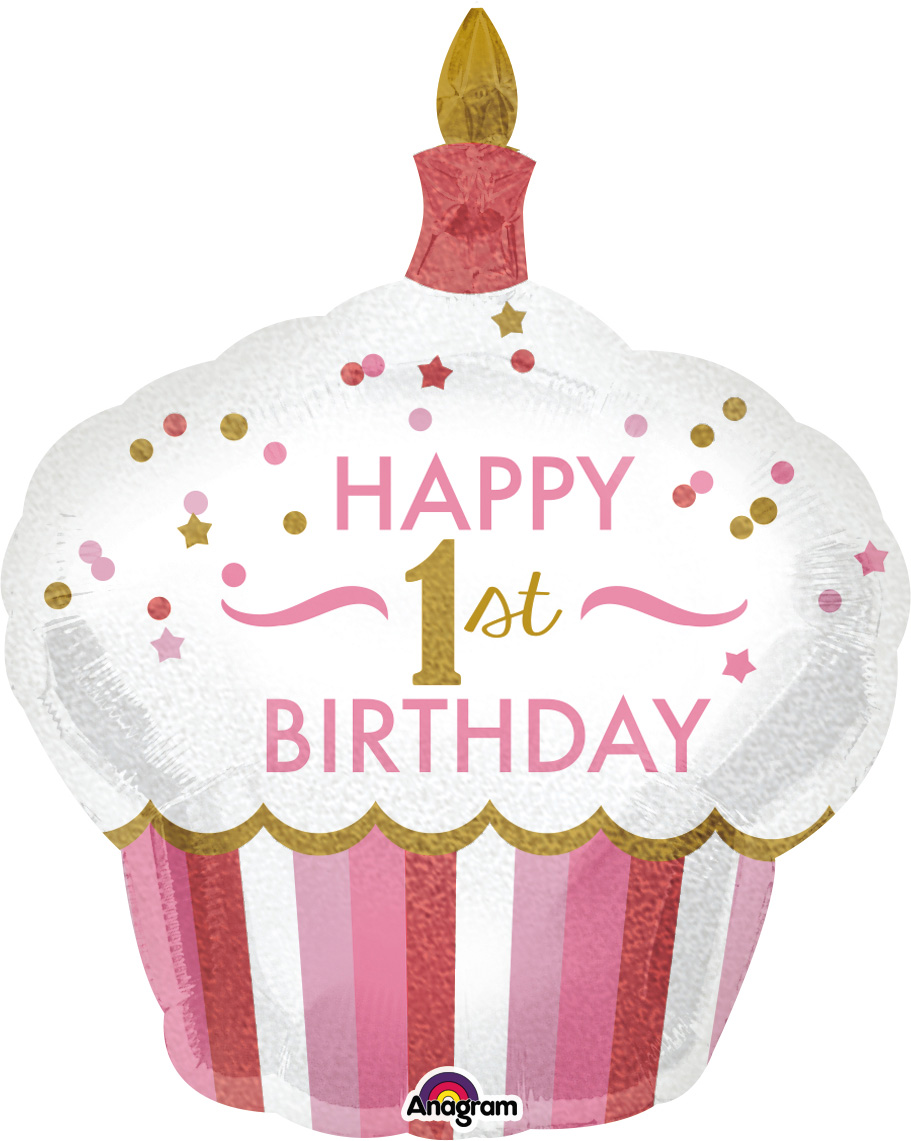 "36"" 1st Birthday Cupcake Girl Balloon"