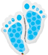 "35"" Shape Packaged Baby Feet Blue"