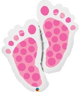 "35"" Shape Packaged Baby Feet Pink"