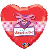 "18"" Happy Valentine's Day Dots and Ribbon Balloon"